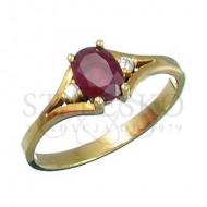 Pierścionek z rubinem oraz z brylantem (PR_108)
